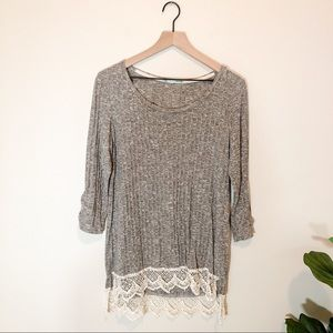 Maurices Lightweight Ribbed Tunic Lace Trim Large